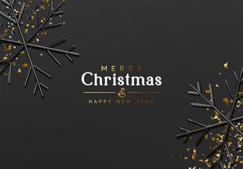 Merry Christmas and Happy New Year. Dark background with glitter gold confetti, 3d render black snowflakes. Minimal Xmas design. vector illustration