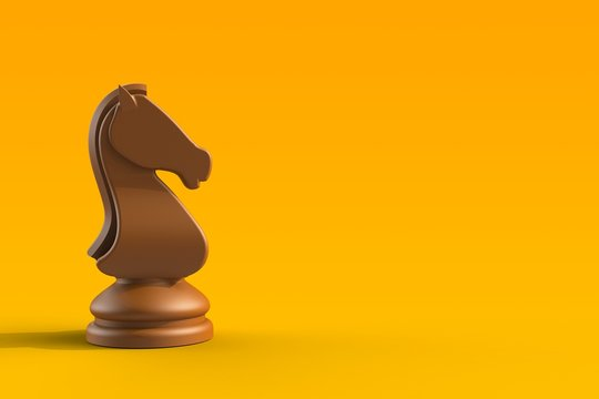 Brown knight chess piece on yellow background, Chess business concept, leader teamwork & success, 3d rendering