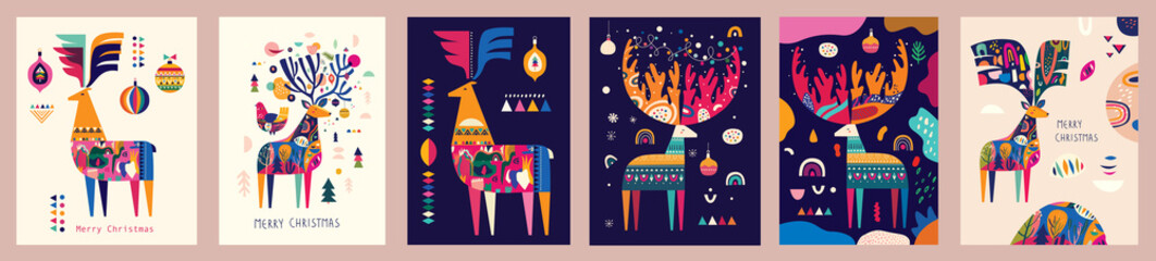 Fotomurales - Set of vector Christmas illustrations with amazing deers
