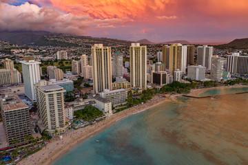 Fototapete - Waikiki Sunset