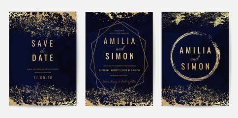 Wall Mural - Wedding Invitation, Thank you Card, rsvp, posters, modern card Design Collection. Trendy indigo Marble background, Marbling texture design in navy blue ,green turquoise and golden texture vector