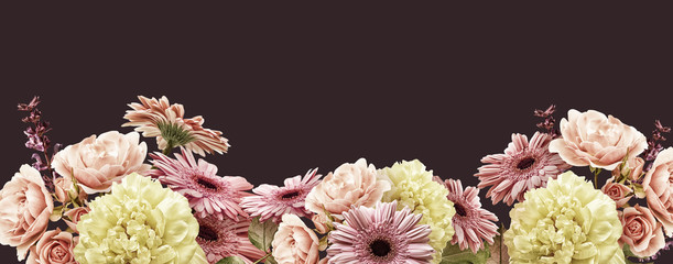 Floral banner, cover or header with vintage bouquets. Yellow peony, gerbera, pink roses isolated on dark background.