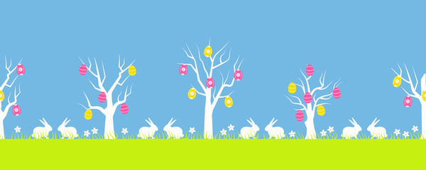 Easter background. Spring landscape. Seamless border. There are Easter trees, green grass, flowers and rabbits in the picture. Vector flat illustration