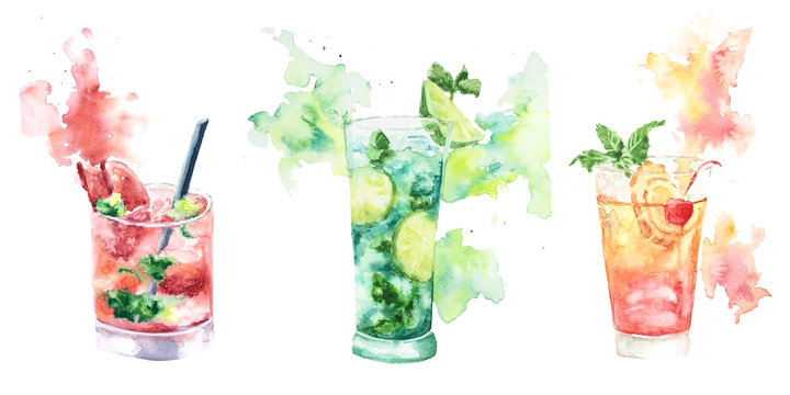 Three fruit cocktail with splashes of watercolor