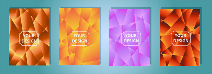 Set of colorful low poly Vector pattern Gradient Set. Modern Smartphone screen, mobile app Template. Design for Wallpaper, background, banner, flyer, Social media post.