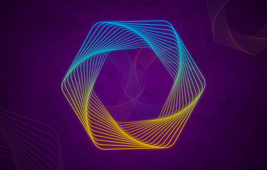Blue & Yellow geometrical lines shape on dark purple background.