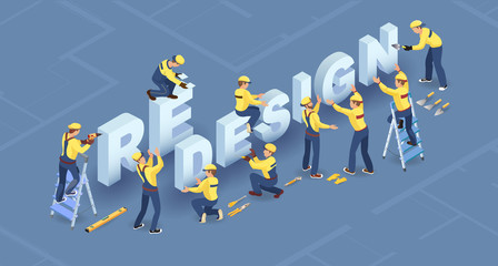 Obraz Redesign services. Isometric concept. Team of builders are works. Vector. - fototapety do salonu