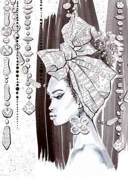 Watercolor and Ink African Girl Coloring Page, Beautiful Lady Monochrom Portrait, Black and White Hand Painted Sketch, Ethnic Beads Ornament, Exotic Fashion