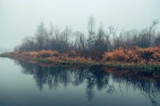 Autumn fog on the river.