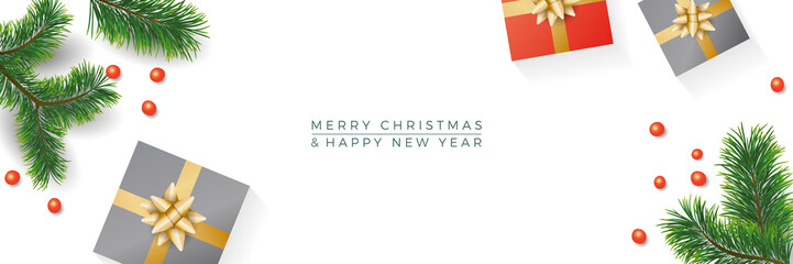 Christmas composition. Gifts, fir tree branches, gift on white banner background. Winter and new year concept. Flat lay, top view, copy space