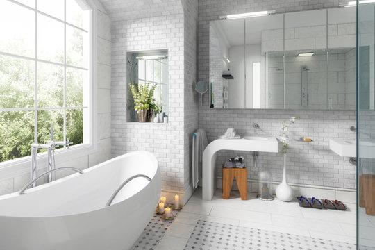 Old building bathroom after renovation - 3d visualization