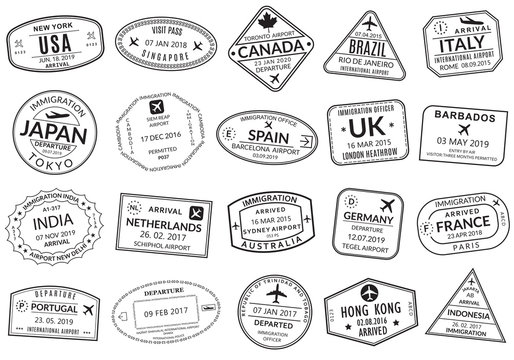 Passport stamp set. Visa stamps for travel. International airport sign. Immigration, arrival and departure symbols with different cities and countries. Vector illustration.