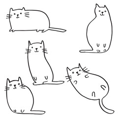 Set of funny cats. Cute hand drawn doodle kittens. Pet animal vector illustration.