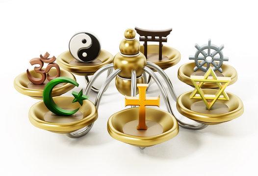Spiritual and religious symbols isolated on white. 3D illustration