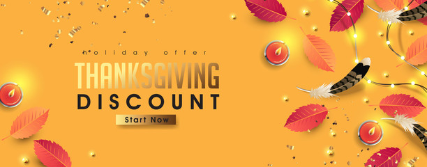 Wall Mural - Thanksgiving day sale banner background with sparkling lights garland and autumn fall,candle. Celebration quotation for card.vector illustration.