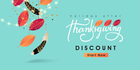 Wall Mural - Thanksgiving day sale banner background with sparkling lights garland and autumn fall. Celebration quotation for card.vector illustration.