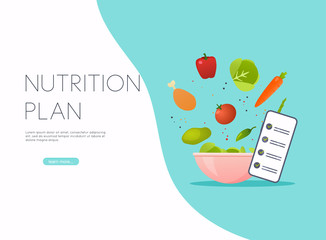 Healthy food and dieting concept. Plan your meal infographic with dish and cutlery. Flat design style modern vector illustration concept.