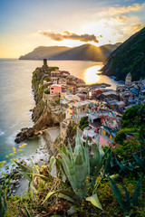 Keuken foto achterwand Liguria Vernazza - Village of Cinque Terre National Park at Coast of Italy. Beautiful colors at sunset. Province of La Spezia, Liguria, in the north of Italy - Travel destination and attraction in Europe.