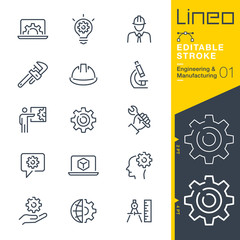 Lineo Editable Stroke - Engineering and Manufacturing line icons