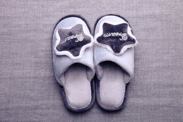 Gray soft home slippers Wall mural