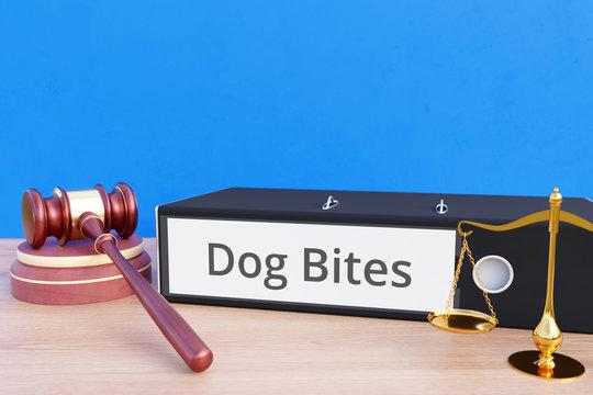 Dog Bites – Folder with labeling, gavel and libra – law, judgement, lawyer