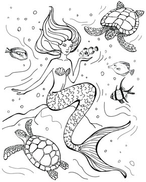 Hand drawn mermaid, turtle and tropical fish isolated on white background. Vector illustration. Sea theme. Perfect for coloring book, print, greeting card.