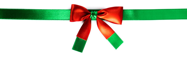 Wall Mural - Red green ribbon bow isolated on white