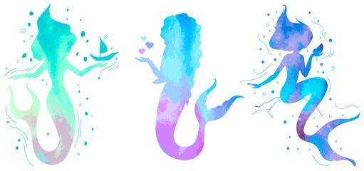 Hand drawn silhouette mermaid isolated on white background. Vector illustration. Colorful siren. Sea theme. Perfect for invitation, greeting card, fashion print, banner, t shirt.