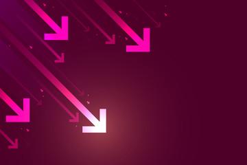 Light down arrow on dark red background, economic crisis concept, copy space composition.