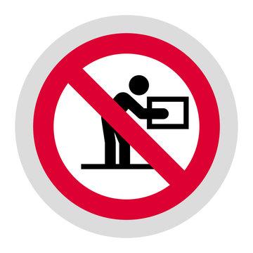 Do not lift heavy weight forbidden sign, modern round sticker, vector illustration for your design