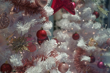 Chrismas decoration in red white and pink