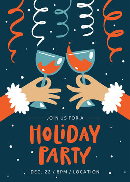 Christmas Invitation. Holiday Party Template. People clinking glasses of red wine in hands. Trendy vintage style.