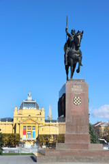 Monument of the Croatian King Tomislav and art pavilion in Zagreb