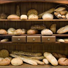 Brot, bio, Holzregal