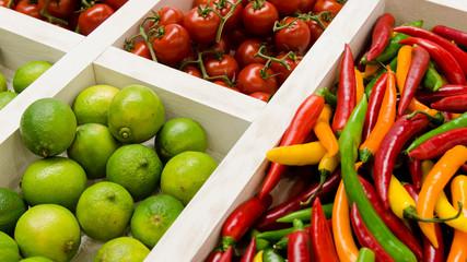 Gemüse, Obst, Markt, Holz