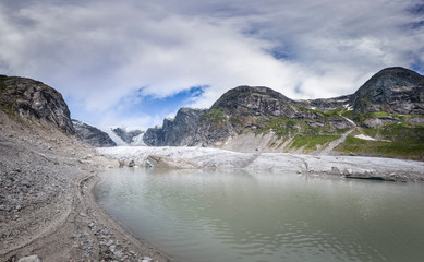 Glacier Austerdalsbreen Norway big panorama at afternoon