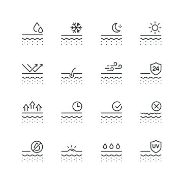 Skin related icons: thin vector icon set, black and white kit