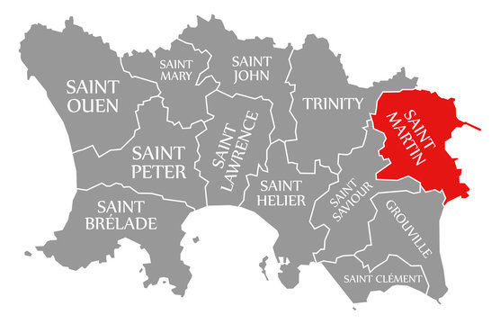 Saint Martin red highlighted in map of Jersey