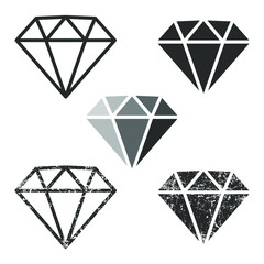Cartoon flat style diamond icon outline shape. Gem jewel logo symbol sign. Vector illustration image. Isolated on white background.