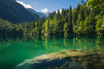 Spring landscape at Lake Fusine on the slopes of the Julian Alps, Tarvisio, Italy
