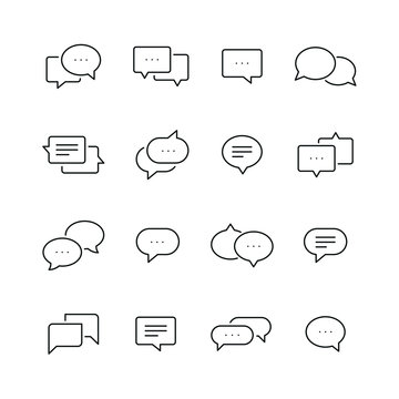 Chat bubble related icons: thin vector icon set, black and white kit