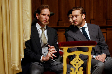 Andrea Casiraghi and Pierre Casiraghi attend a mass at Monaco Cathedral during the celebrations marking Monaco's National Day