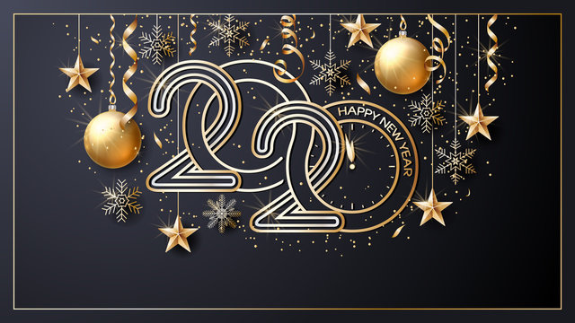 Happy New Year 2020. Vector. Christmas star. Greeting Card. Golden  inscription on a black background. Confetti, golden balls and ribbons.  Template for the design of greetings, invitations.