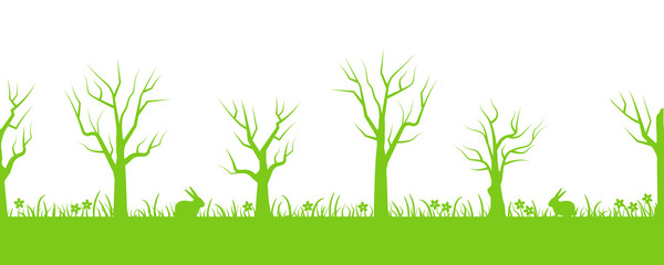 Spring background. Seamless border. Green silhouettes of trees, grass, flowers and hares in the picture. Vector flat illustration
