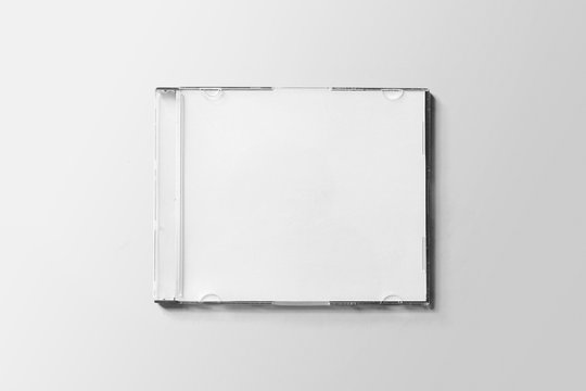 CD DVD Case Disk Label Presentation White Blank Mockup
