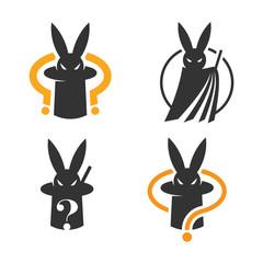 Set of mysterious magic rabbit logo or icon