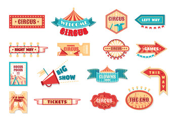 Set of circus labels, signage. Logotype template for carnival, events.