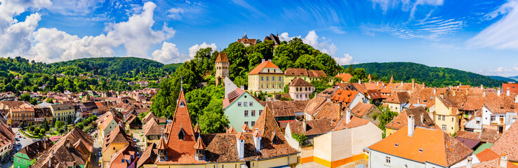 Medieval old town Sighisoara in Mures County, Transylvania, Romania Fotomurales