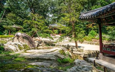 Huwon secret garden view with Ongnyucheon stream and Soyoam rock at Changdeokgung palace Seoul South Korea