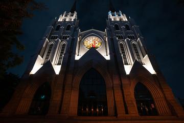 Illuminated Facade at night of the modern church on top of Cheongna hill Daegu South Korea